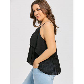 Plus Size Tiered Pleated Cami Tank Top - BLACK BLACK