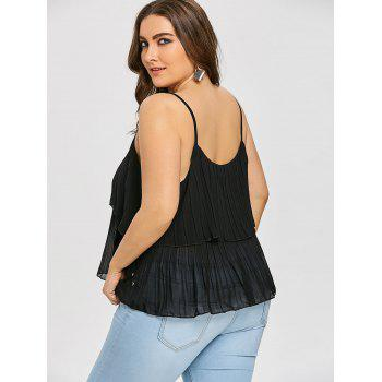 Plus Size Tiered Pleated Cami Tank Top - BLACK 4XL