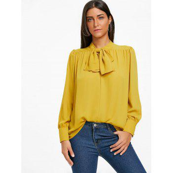 Mock Neck Bowknot Chiffon Blouse - YELLOW S