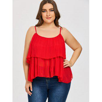 Plus Size Tiered Pleated Cami Tank Top - RED 5XL