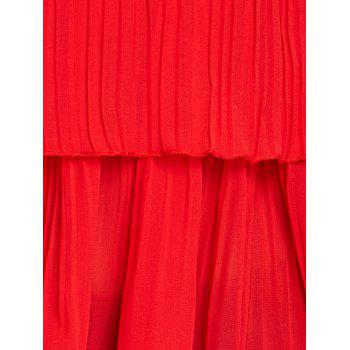 Plus Size Tiered Pleated Cami Tank Top - RED RED