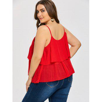 Plus Size Tiered Pleated Cami Tank Top - RED 3XL