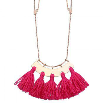 Statement Alloy Tassel Pendant Necklace - SANGRIA SANGRIA
