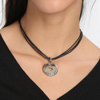 Faux Leather Rope Round Heart Collarbone Necklace - BLACK BLACK
