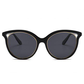Anti UV Metal Full Frame  Decorated Cat Eye Sunglasses - DOUBLE BLACK