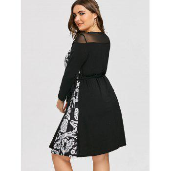 Mesh Panel Floral Print Plus Size Wrap Dress - BLACK BLACK