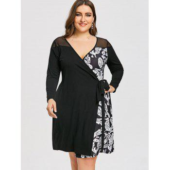Mesh Panel Floral Print Plus Size Wrap Dress - BLACK 4XL