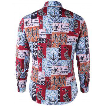 Ethnic Pattern Button Up Shirt - COLORMIX M