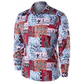 Ethnic Pattern Button Up Shirt - COLORMIX 2XL