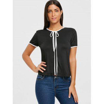 Contrast Trim Self Tie Blouse - BLACK XL