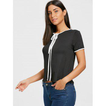 Contrast Trim Self Tie Blouse - BLACK BLACK