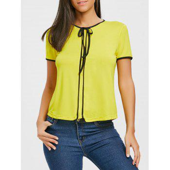 Contrast Trim Self Tie Blouse - YELLOW YELLOW