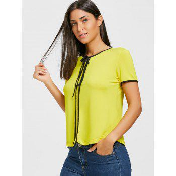 Contrast Trim Self Tie Blouse - YELLOW S