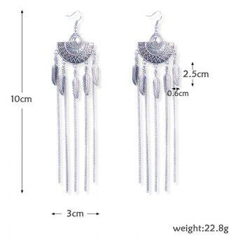 Alloy Leaf Fringed Vintage Long Drop Earrings -  SILVER