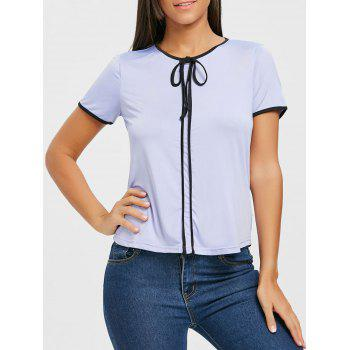 Contrast Trim Self Tie Blouse - PURPLE PURPLE