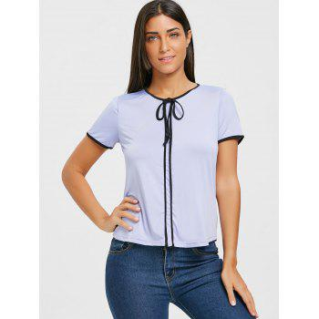 Contrast Trim Self Tie Blouse - PURPLE M