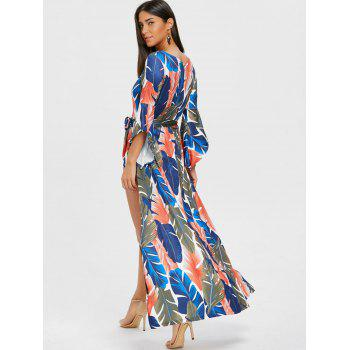 High Slit Leaf Print Low Cut Wrap Dress - BLUE XL