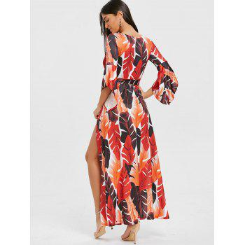 High Slit Leaf Print Low Cut Wrap Dress - ORANGE ORANGE