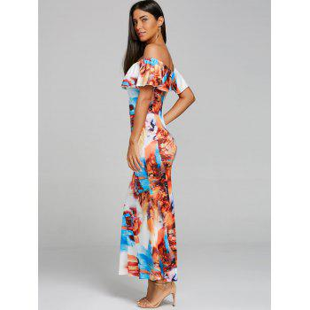 Ruffle Print Maxi Off Shoulder Dress - COLORMIX S