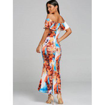Ruffle Print Maxi Off Shoulder Dress - COLORMIX L