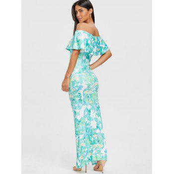 Ruffle Print Off Shoulder Dress - GREEN M