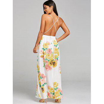 Plunging High Slit Sunflower Print Dress - WHITE M