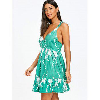 Floral Print Plunging Tie Shoulder Mini Dress - MARINE GREEN S