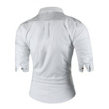 Long Sleeved Button Down Casual Shirt - WHITE WHITE