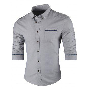 Long Sleeved Button Down Casual Shirt - GRAY GRAY