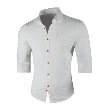 Chest Pocket Turn Down Collar Casual Shirt - WHITE WHITE