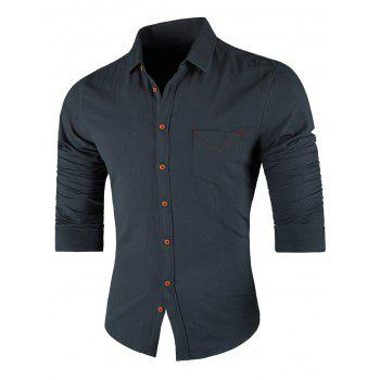 Chest Pocket Turn Down Collar Casual Shirt - STONE BLUE STONE BLUE