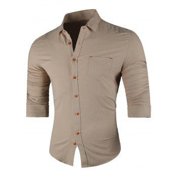 Chest Pocket Turn Down Collar Casual Shirt - KHAKI KHAKI