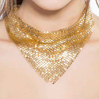 Geometrical Paillettes Decorated Choker Necklace - GOLDEN GOLDEN