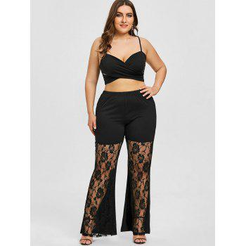 Plus Size Rose Lace Panel Flare Leggings - BLACK BLACK