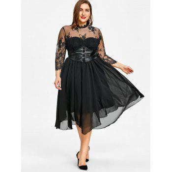 Plus Size Empire Waist Gothic Dress - BLACK 3XL