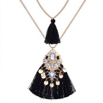Artificial Crystal Tassel Discs Layered Necklace - BLACK BLACK