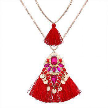 Artificial Crystal Tassel Discs Layered Necklace - RED RED