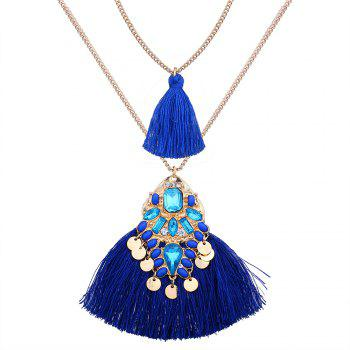 Artificial Crystal Tassel Discs Layered Necklace - BLUE BLUE