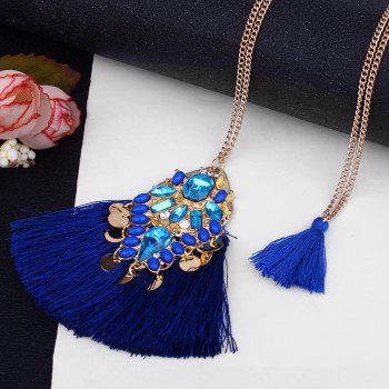 Artificial Crystal Tassel Discs Layered Necklace -  BLUE