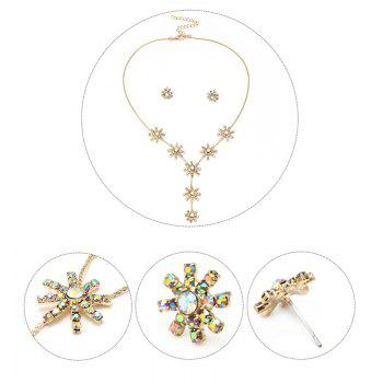 Faux Dimaond Flower Pendant Necklace with Stud Earrings - GOLDEN