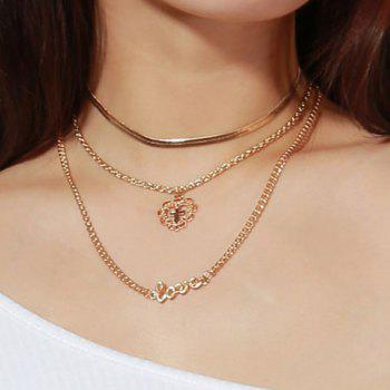 Metal Layered Love Letter Heart Cross Pendant Necklace - GOLDEN GOLDEN
