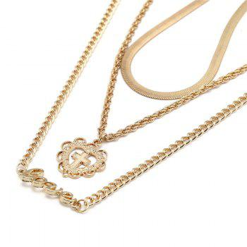 Metal Layered Love Letter Heart Cross Pendant Necklace -  GOLDEN