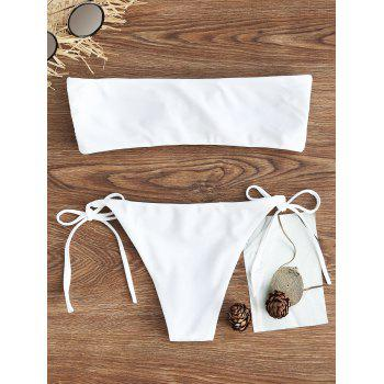 String Embroidered Bandeau Bikini Set - WHITE WHITE