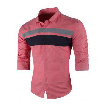 Wide Stripe Turndown Collar Long Sleeve Shirt - RED RED