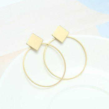Round Rhomb Hollow Out Drop Earrings - GOLDEN