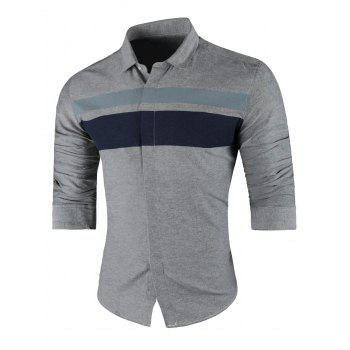 Wide Stripe Turndown Collar Long Sleeve Shirt - GRAY GRAY