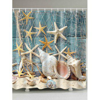 Waterproof Starfish and Shell Print Shower Curtain - COLORMIX COLORMIX
