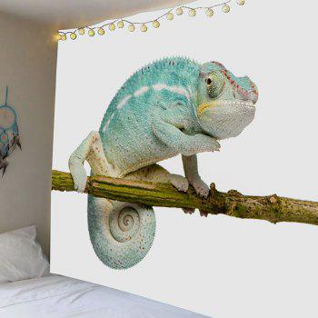 Chameleon Stand on the Tree Printed Decorative Tapestry - BLUE W91 INCH * L71 INCH