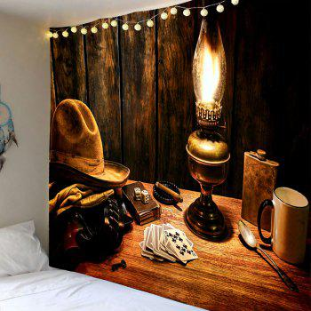 Cowboy Hat Lamp Pattern Tapestry - BROWN W79 INCH * L59 INCH
