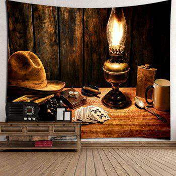 Cowboy Hat Lamp Pattern Tapestry - BROWN BROWN